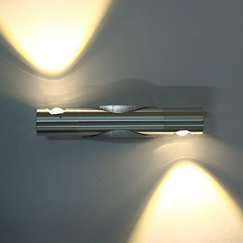 Lightess Apliques de Pared Lámpara en Moda de Aluminio 6W 2 Granos LED Luz Cálida y Agradable Luz de Ambiente, 360 Grados Angulo Ajustable Granos para Iluminación de Dormitorio, Studio, Hogar Decoración, Porche, Blanco Cálido