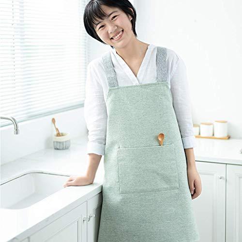 SSB Delantal de lino de algodón de color sólido con bolsillos, estilo japonés en forma de X, delantal de vendaje cruzado, delantal de cocina, delantal de jardinería D 69 x 88 cm