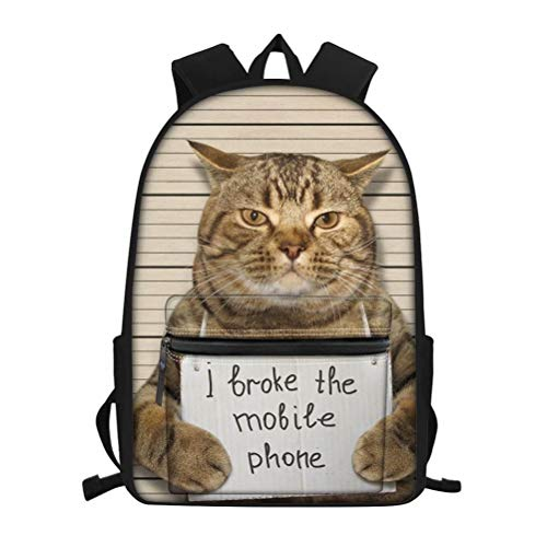NDISTIN Cute Confessed Cat Pet Printed Backpack Children Popular Schoolbag for Kids Lightweight Durable High Capacity Book Bag Teenager Best Storage Supplies Travel Rucksack Outdoor Sports Satchel