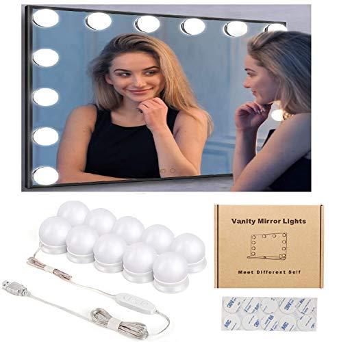 Luci da Specchio Kohree Luci LED Stile Hollywood per Trucco,10 Lampadine Dimmerabili a Specchio Cosmetico, Illuminazione Tavolo Trucco Vanità, Specchio non Incluso con USB 5.3m 3 Toni da Scegliere