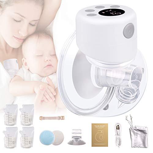 Extractor de leche portátil, extractor de leche eléctrico manos libres, con pantalla LD, 2 modos, 9 niveles, extractor de leche portátil recargable (grande, 27 mm)