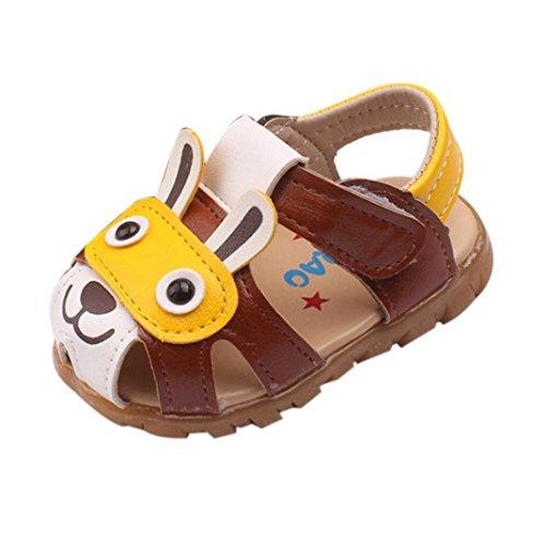 Elecenty Sandalen LED Beleuchtet Babyschuhe,Kleinkind Unisex Mädchen Junge Schuhe Flach Shoes Offene Karikatur Sandaletten Atmungsaktiv Sommerschuhe Strandschuhe Kinderschuhe (18, Kaffee)