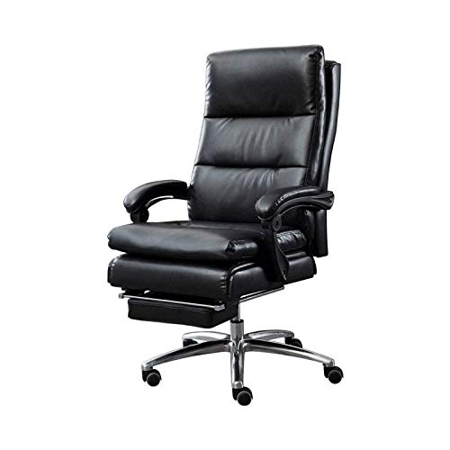 WSDSX Simple Household Reclining Computer Chair with Footrest and Thick Padding Ergonomic Back High Back Leather Office Chair Relax Completely (Color : Black)