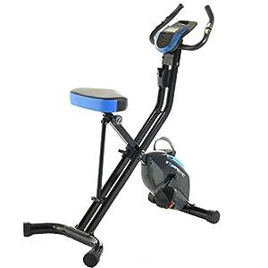 Exerpeutic 675 XLS Bluetooth Smart Technology Folding Upright Exercise Bike, 400LBS, Black/Blue