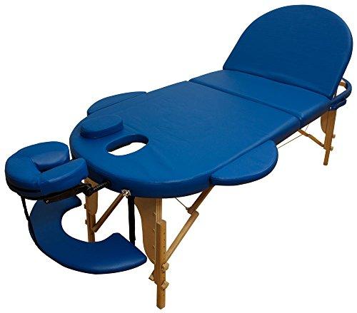 Reiki Massageliege/Massagebank, Oval - Rund, mit viel Zubehör, blau