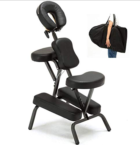 Chaise de Massage Siège Ergonomique Masseur Assis en Tissu Oxford avec Sac de Transport Gratuit Portable et Pliante Professionnel Accoudoir Réglable Spa Détente Bed,Black