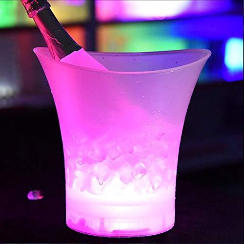 Cubo de hielo LED con luz LED de 4 colores LED 5 l nuevo impermeable plástico bares discotecas champán cerveza cubo bares noche fiesta (color: rosa)