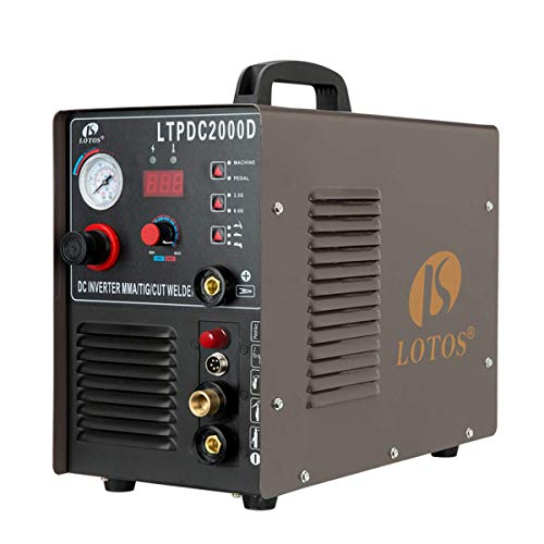 Lotos LTPDC2000D Non-Touch Pilot Arc Plasma Cutter Tig Welder and Stick Welder 3 in 1 Combo Welding Machine,½ Inch Clean Cut,Brown
