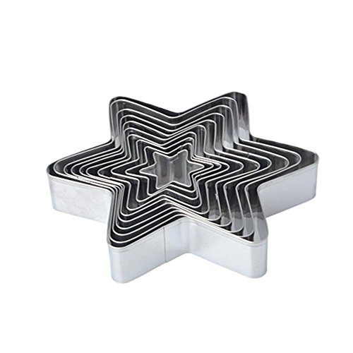 Antallcky Star Cookie Cutter Set-10 pcs Stainless Steel Six-pointed Star Biscuit Molds Fondant Cake Cookie Cutter Set Pastry Mold for Star Linzer and 3D Christmas Tree Cookies