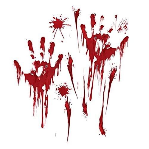 JiuXiuHeiShan-MY Decoraciones De Halloween - 5 Bloody Wall Bloody Handprint Horror Bat Spooky Window Stickers para Halloween Party Varios Partidos,004