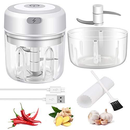 iNeego Mini Elektro Zerkleinerer für Knoblauch, Elektrisch Zwiebelhacker mit Knoblauchschäler und Reinigungsbürste, Elektrische Tragbare Küchenmaschine für Knoblauch, Zwiebel (100ml+250ml)