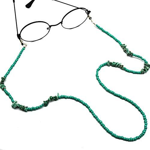 LUOSI Arte callejero mujer niña hombre verde piedra natural cuentas gafas de sol gafas de lectura gafas cadena cuello cordón correa cordón cordón cordón cordón para hombres mujeres