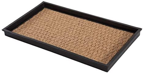 Anji Mountain AMB0BT2F 001 Black Rubber Boot Shoe Tray with Coir Fits 2 Pair 24 5 Wide Tan Insert product image