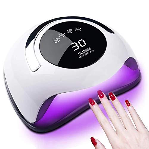 Lámpara de uñas de 120 W, lámpara de uñas LED UV, 36 luces, esmalte de gel, secado de uñas, secador de uñas, luz de uñas para esmalte de gel con 4 ajustes de temporizador, lámpara de gel de curado portátil más rápido