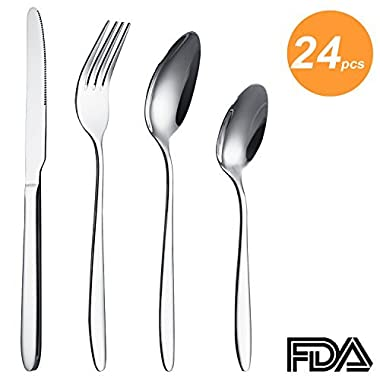 SUNPOLLO 24 Pieces Silverware Set, Flatware Set Service for 6, Stainless Steel Silver Cutlery Set for Kitchen Hotel Restaurant Wedding Party, Mirror Polished, Dishwasher Safe