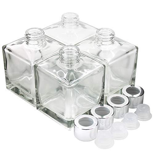 Juego de botellas de difusor de cristal cuadradas grandes de 4 a 3.7