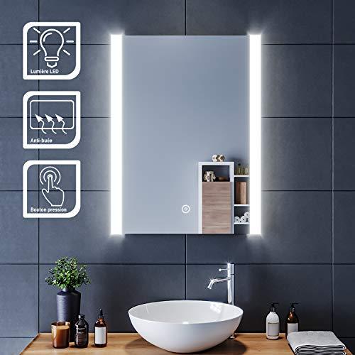 SIRHONA Miroir LED 60x80 cm Miroir de Salle de Bains avec éclairage LED Miroir Cosmétiques Mural Lumière Illumination avec Commande par Effleurement/Anti-buée