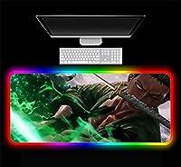 マウスパッドアニメワンピースマウスパッドRGBXXLゲーマーLEDカラフルなUSBラップトップキーボードパッドゲーミングデスク24インチx12インチ
