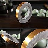Lianlili 50m Oro Color Autoadhesivo Impermeable Cinta de Pared Tirar baldosas Belleza cartilla Etiqueta decoración del hogar (Color : Gold, Size : 0.5cm)
