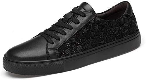 Zapatos de Hombre Zapatos Nueva Manera De La Zapatilla De Deporte for Los Hombres Deportivos Atan for Arriba Estilo OX Patrón De Cuero Suave Y Transpirable Estrella ( Color : Black , Size : 43EU )
