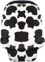 Wanyint Black Cow Stretchy Baby Car Seat Covers Nursing Cover for Boys Girls, Carseat Canopy,Baby Breastfeeding Stroller High Chair Shopping Cart Cover