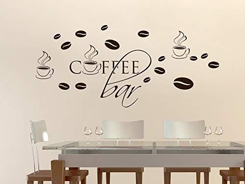 GRAZDesign Wanddeko Coffee mit Tassen, Wandsticker Kaffeebohnen, Wandtattoo Küche Cafe Deko / 100x57cm / 080 braun