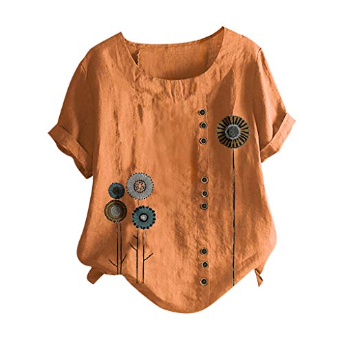 ZSBAYU Linen Shirts Women O-Neck Short Sleeve Floral Print Vintage Blouse Tunic Pullover Casual Buttons Tops Orange
