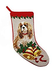 Blenheim Cavalier King Charles Needlepointクリスマスストッキング[Elegant decor, Ltd./Amazon]