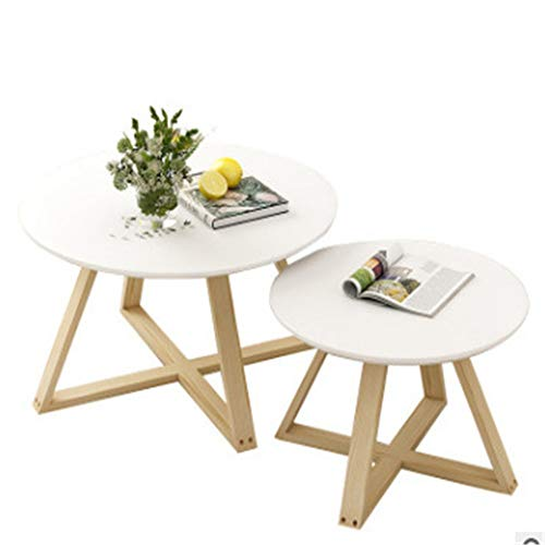 KX-YF Nest of Tables Modern Round Side Tea Coffee Table Small White End Tables Living Room Bed Room Bar Hotel Wooden Leg Living Room (Color : White, Size : Free size)