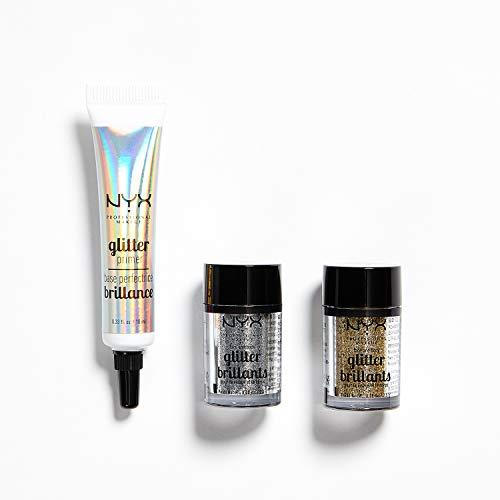 NYX Professional Makeup Effects Kit, Glitzer Primer, Für Gesicht und Körper, 3-teiliges Makeup-Set