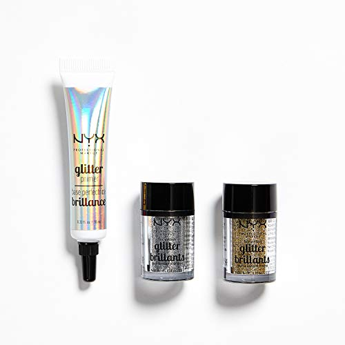 NYX Professional Makeup 3-teiliges Glitzer-Set, Glitzer Primer, Face und Body Glitzer, Farbton: Silber, Gold