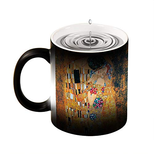 Magic Mug wärmeempfindliche Tasse Gustav Klimt – Der Kuss, lustige Farbwechsel-Kaffeetasse, 325 ml