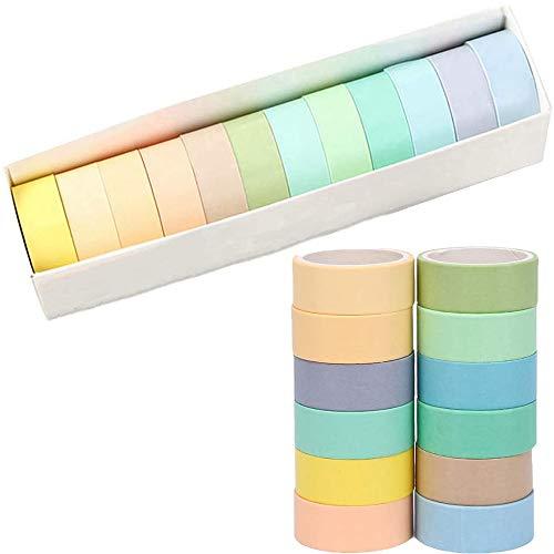 12 Rollos de Washi Tape, Rainbow Tape,Cintas Adhesivas Macaron Coloridas, Deco Tape Stickers para Diario de Balas, Manualidades, Envoltorios, Álbumes de Recortes