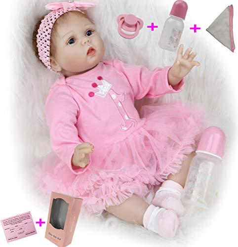 ZIYIUI 22 Pollici 55 cm Bambole Reborn Femmine Silicone Morbido Vinile Vita Reale Realistico Fatto a Mano Giocattoli Oer Neonati Bambola Reborn Femmina Giocattoli Magnetico Regali per Bambini