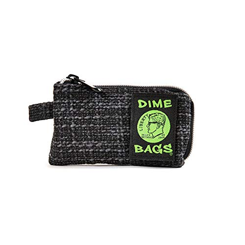 Dime Bags Padded Pouch with Soft Padded Interior | Protective Hemp Pouch for Glass with Interior Smell Proof Pocket (Black, 5-Inch)