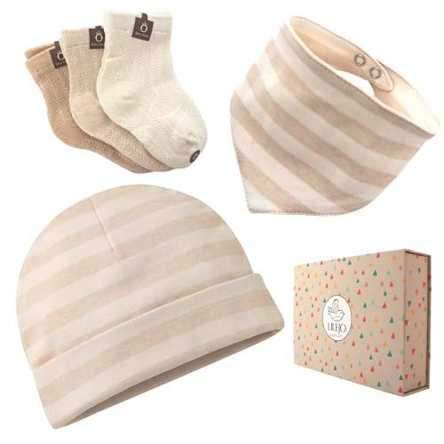 LILEJO Baby Geschenk zur Geburt - Mütze, Halstuch und Socken für Mädchen und Jungen aus Bio-Baumwolle, beige