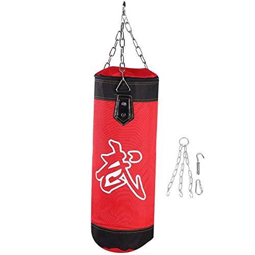 Z&HA Stanztasche Schwere Tasche, Ungefüllter Muay Thai MMA Boxing Trainingsbeutel Fitness Training 2Ft Kick Boxing Bag Set Mit Hängenden Kette Und Haken Für Kinder Und Jugendliche,Rot,60cm