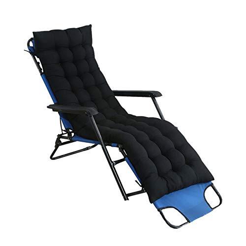 Heyjewels Liegestuhl Auflage Gartenstuhlauflagen, Einfarbig Sitzkissen Dick Polster Anti-Rutsch-Design Relax Liegenauflage für Sonnenliege Schaukelstuhl (Schwarz)