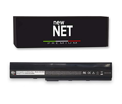 New Net Premium – Serie A32-K52 Batería compatible con portátil Asus A52 K52D K52F K52J K52JC K52JE K52JR K52JT K52N X52 X52J X52N [celdas de alta calidad 5200mAh]