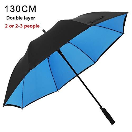 TONGS Automatisch Gerade Doppelschicht Golf Regenschirm,Draussen Sonnenschirm,Bergsteigen,Freizeit,Regenschirm,Doppelt Rippe Gemütlich Griff/Blau / 130cm