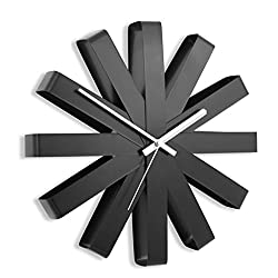 Wall Clock Home Modern Ribbon, Stainless Steel Modern Simple Watch Living Room Board Room Creativity Wall Surface Decoration (Color : Black)