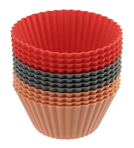Dr. Oetker Silikon-Muffinförmchen, Silikonformen für Muffins und Cupcakes (Farbe: grau, rot und hellrot) - spülmaschinengeeignet, Menge: 1 x 12er Set