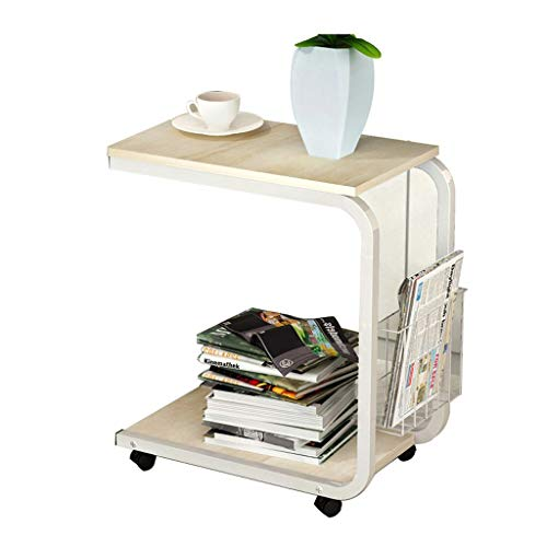 LLF Mobile Side End Table, Coffee Table,Sofa Table C-Shape Snacks Side Console Table Tea Table Bedside Table with Side Basket Detachable Wheels for Coffee Snack Tablet