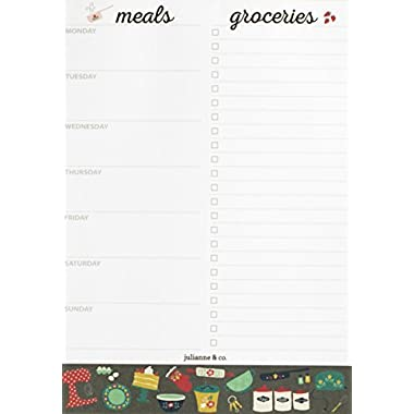 Weekly Magnetic Meal Planner Notepad By Julianne and Co - Food Planning Organizer and Grocery List Pad, 52 Premium A5 Pages, with Tear Away Perforated Shopping List (Kitchen Print With Fridge Magnet)