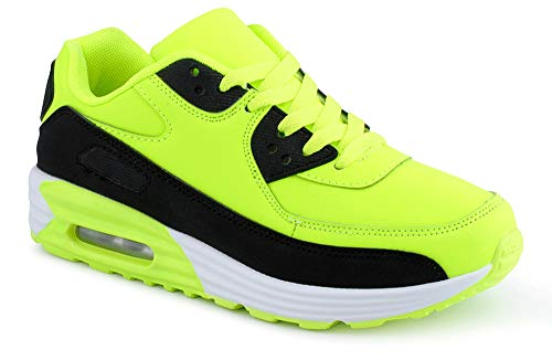 Fusskleidung Herren Damen Sportschuhe Dämpfung Neon Sneaker Laufschuhe Runners Gym Unisex Grün Schwarz EU 40