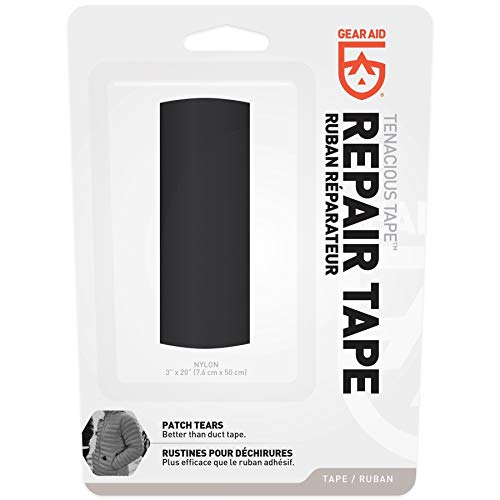 "GEAR AID Tenacious Tape Nylon Repair Tape for Fabric and Vinyl, 3"" x 20"", Black"