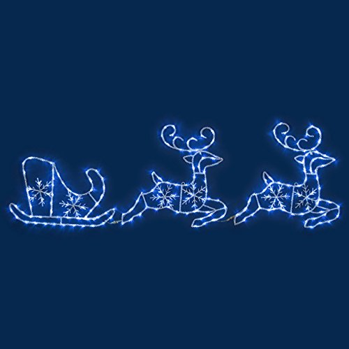 Renos con trineo efecto hielo, 240 x 70 cm, 224 LED luz...