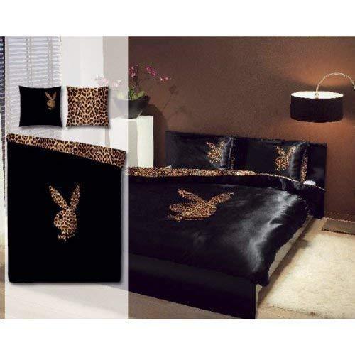Playboy Bettwäsche Leopard Bunny schwarz, Größe:135x200 cm + 80x80 cm