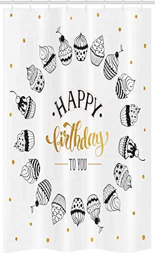 ABAKUHAUS koekje Douchegordijn, Gelukkige Verjaardag aan u Woorden, voor Douchecabine Stoffen Badkamer Decoratie Set met Ophangringen, 120 x 180 cm, Aarde Geel Wit