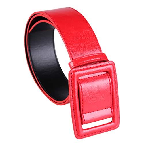 Bonarty Cinto de couro PU para mulheres, vestido chique na cintura, fivela quadrada, Vermelho, as described